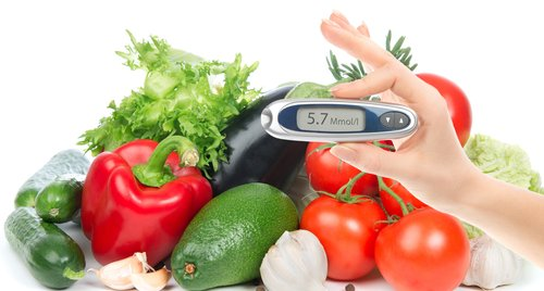 Regular testing with Glucometer for blood glucose level blood and healthy organic food helps manage diabetes better.